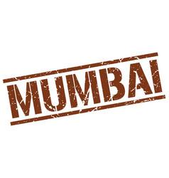 Mumbai brown square stamp vector