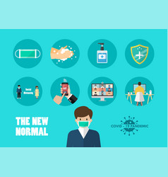 new normal lifestyle covid-19 concept vector image