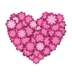 Nice flowers in form heart decoration vector