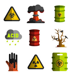 Nuclear and biological weapons icon set of vector