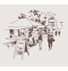 Original digital sepia sketch of street cafe in vector