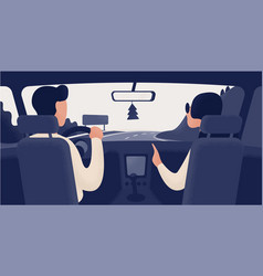 pair of people sitting on front seats of car vector image