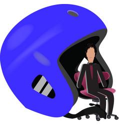 Quiet person sitting under a helmet vector