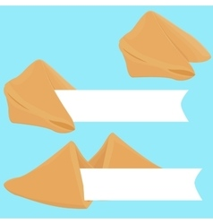 realistic cracked fortune cookie with paper vector image
