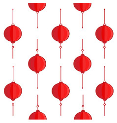 red chinese lanterns on white background vector image