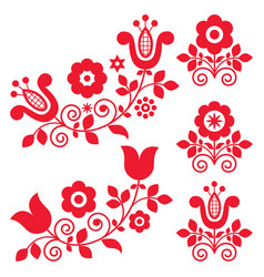 Retro polish folk art design elements vector