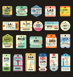 retro travel tickets vintage tags for flight vector image