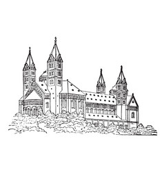 Romanesque church line drawing of a large church vector