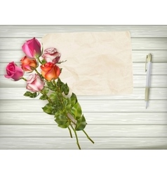 Roses on wooden background EPS 10 vector image