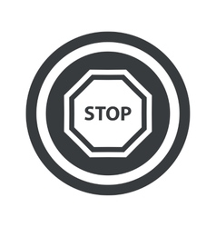 Round black STOP sign vector