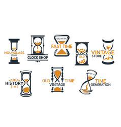 Sandglass and hourglass store icons vector
