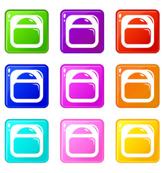 scale icons set 9 color collection vector image