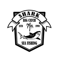 sea fishing emblem template with shark fish vector image