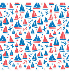 Seamless abstract sea background sailboats on vector