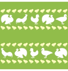 Seamless pattern with farm birds silhouettes vector