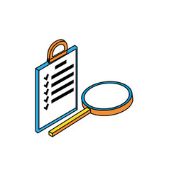 search magnifying glass with checklist vector image