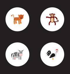 set of animal icons flat style symbols with vector image