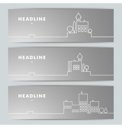 Set of banners with contour urban landscape vector image
