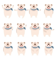 Set of flat polar bear icons vector