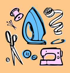 Sewing kit for fashion designer vector