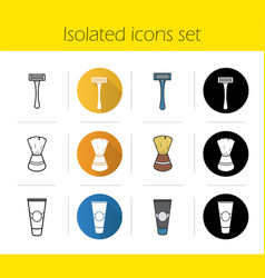 Shaving accessories icons set vector