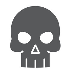 skull glyph icon halloween and death vector image