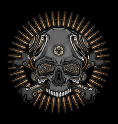 skull head and bullets vector image