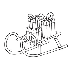 Sled with gift boxes vector