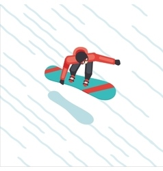 Snowboarder skating from mountain Flat style vector image