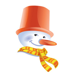 snowman in hat the bucket with a striped scarf vector image
