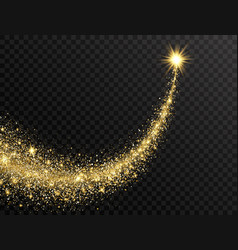 Star dust trail with glitter sparkling particles vector