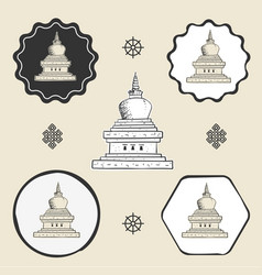 Stupa temple buddhism icon flat web sign symbol vector