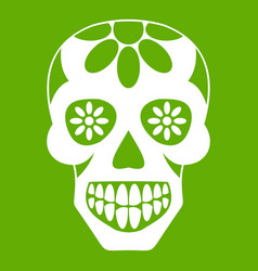 sugar skull flowers on the skull icon green vector image