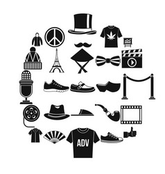 t-shirt icons set simple style vector image