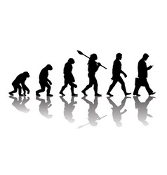Theory of evolution of man silhouette with vector