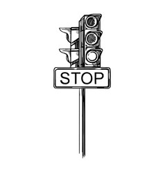 traffic light with traffic signs vector image