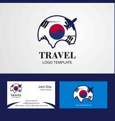 Travel korea south flag logo and visiting card vector