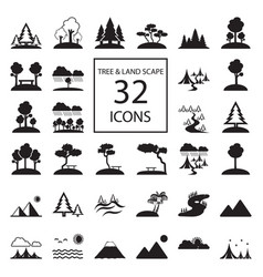 Tree landscape 32 icons vector