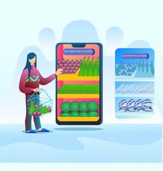 vegetable shopping from online market vector image