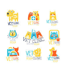vet clinic original label design colorful hand vector image