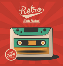 vintage retro music festival cassette invitation vector image
