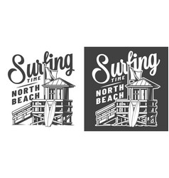Vintage surfing time monochrome emblem vector