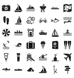 Water activity icons set simple style vector