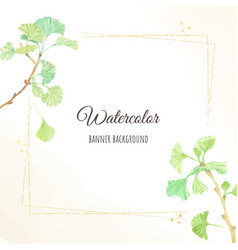 Watercolor hand drawn ginkgo branch frame square vector