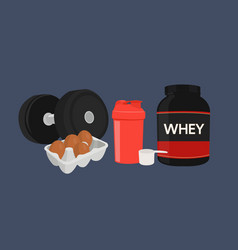Whey protein bottle a scoop a shaker and a dumbb vector