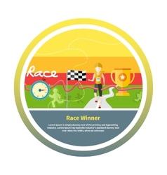 Winning athlete crosses finish line vector