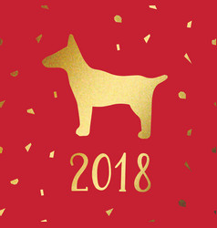 year of the dog imitation of gold for design vector image