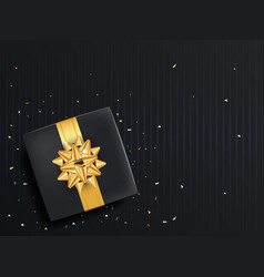 Black gift box with ribbon and gold bow top view vector