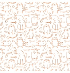 Funny cartoon sketch cats background vector image vector image