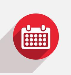 modern calendar red circle icon vector image